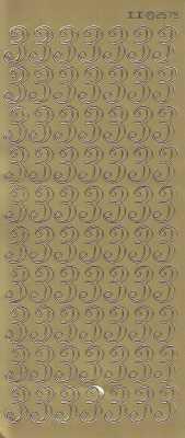 Zier-Sticker-Bogen-große Zahlen- nur 3 -gold-2579g