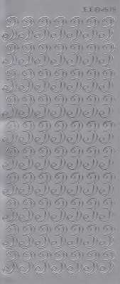 Zier-Sticker-Bogen-große Zahlen- nur 3 -silber-2579s