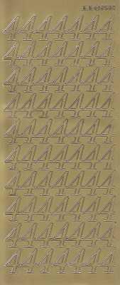 Zier-Sticker-Bogen-große Zahlen- nur 4 -gold-2580g