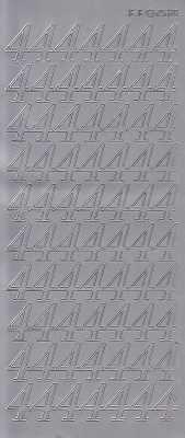 Zier-Sticker-Bogen-große Zahlen- nur 4 -silber-2580s