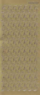 Zier-Sticker-Bogen-große Zahlen- nur 5 -gold-2581g