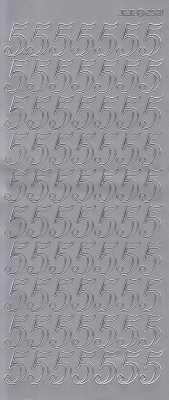 Zier-Sticker-Bogen-große Zahlen- nur 5 -silber-2581s