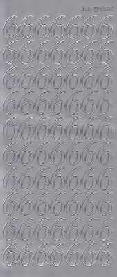 Zier-Sticker-Bogen-große Zahlen- nur 6 -silber-2582s