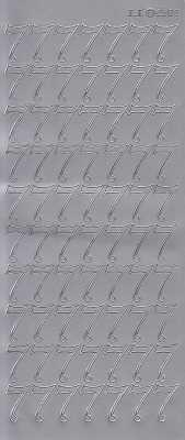 Zier-Sticker-Bogen-große Zahlen- nur 7 -silber-2583s