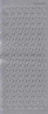 Zier-Sticker-Bogen-große Zahlen- nur 8 -silber-2584s