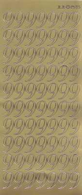 Zier-Sticker-Bogen-große Zahlen- nur 9 -gold-2585g