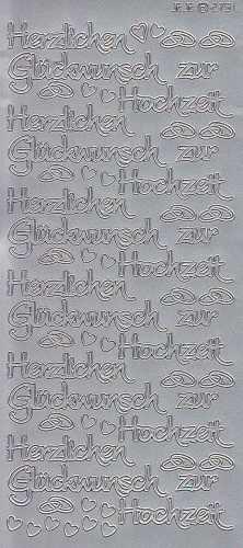 Zier-Sticker-Bogen-Herzlichen Glückwunsch zur Hochzeit-silber-2791s