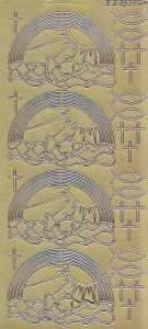 Zier-Sticker-Bogen-2804g-Kommunion-Konfirmation-Taufe-Regenbogen-Fische Kreuze