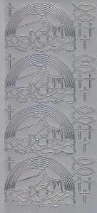 Zier-Sticker-Bogen-Kommunion-Konfirmation-Taufe-Regenbogen-Fische Kreuze-2804s
