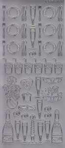 Zier-Sticker-Bogen-2828s-Teller-Besteck-Gläser-silber