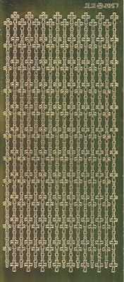 Zier-Sticker-Bogen-2857spfg-Spiegelfolie-Kreuze als Rand-senkrecht-gold-