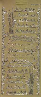 Zier-Sticker-Bogen-2871g-Rasen / Wiese / Gras-gold