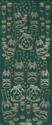 Zier-Sticker-Bogen-Sektflasche mit Gläsern-grün/gold-295grg