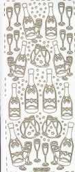 Zier-Sticker-Bogen-Sektflasche mit Gläsern-weiß/gold-295wg