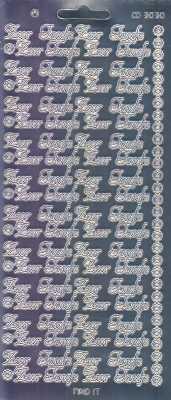Zier-Sticker-Bogen-Spiegelfolie-Zur Taufe -silber-3030spfs
