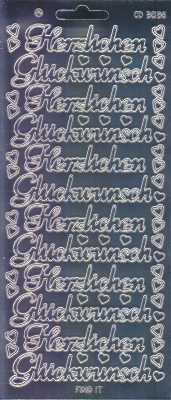 Zier-Sticker-Bogen-Spiegelfolie-Herzlichen Glückwunsch-silber-3036spfs