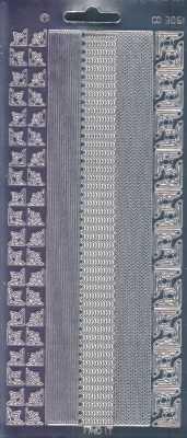 Zier-Sticker-Bogen-Spiegelfolie-Ecken / Ränder-silber-3061spfs