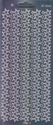 Zier-Sticker-Bogen-Spiegelfolie-Sternen - Ränder-Sterne-silber-W 3065spfs