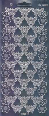 Zier-Sticker-Bogen-Spiegelfolie-Schmetterlinge-silber-3078spfs