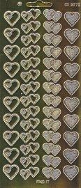 Zier-Sticker-Bogen-Spiegelfolie- doppelte Herzen-matt/glänzend-gold-3079spfg