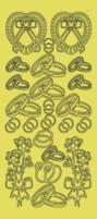 Zier-Sticker-Bogen-Eheringe/Blumen-gold-3085g