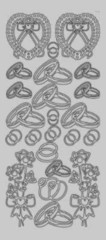 Zier-Sticker-Bogen-Eheringe/Blumen-silber-3085s