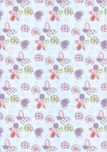 Vario Karton-Motivkarton-8607-00-Denim-Schmetterling-Blüten-300g/qm