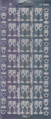 Zier-Sticker-Bogen-Spiegelfolie-Sektgläser-silber-3089spfs