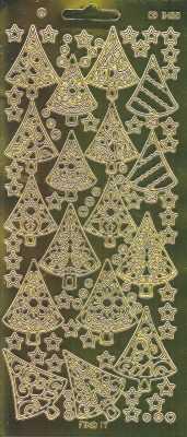 Zier-Sticker-Bogen-Spiegelfolie-Tannenbäume-gold-W 3100spfg