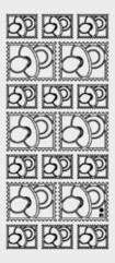 Zier-Sticker-Bogen-Babymotive-Schnuller-Briefmarke-silber-3201s