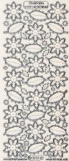 Micro-Glittersticker-Blüten und Blätter-transparent/silber-3213Gtrs