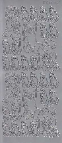 Zier-Sticker-Bogen-Christliche Motive-Betende Hände-betende Kinder-silber-3267s