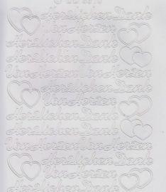 Zier-Sticker-Bogen-Herzlichen Dank-Von Herzen-weiß-3310w