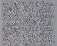 Zier-Sticker-Bogen-Viele Grüsse-silber-3355s