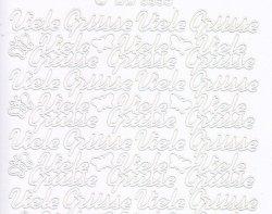 Zier-Sticker-Bogen-Viele Grüsse-weiß-3355w