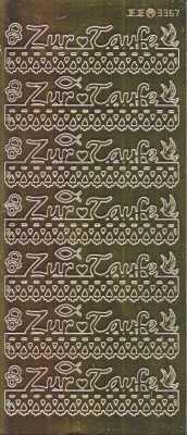 Zier-Sticker-Bogen-Spiegelfolie-Zur Taufe-gold-3367spfg