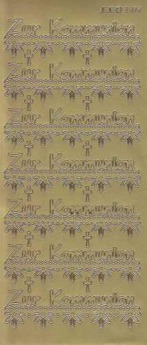 Zier-Sticker-Bogen-Zur Kommunion-mit Bordüre-gold-9372g