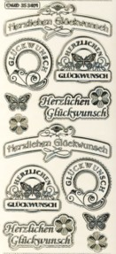 Zier-Sticker-Bogen-Herzlichen Glückwunsch / Label-transparent/gold-3401trg