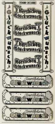 Zier-Sticker-Bogen-Herzlichen Glückwunsch / Label 2-transparent/gold-3402trg