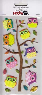 CREApop-Softy-Sticker-Bogen-HobbyFun-HF239- Eulen