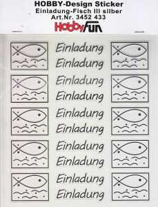 Hobby Design Sticker - HobbyFun 433- Einladung Fisch 3 - silber