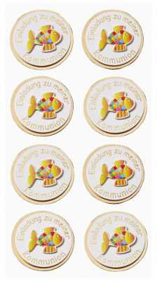 3D Sticker-Creapop-HobbyFun-HF3037-Kommunion / Einladung zu meiner Kommunion-Fisch-gold/bunt