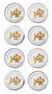 3D Sticker-Creapop-HobbyFun-HF3038-Kommunion / Einladung zu meiner Kommunion-Fisch-silber/bunt