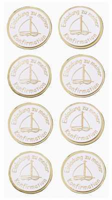 3D Sticker Creapop HobbyFun HF3039 Kommunion / Einladung Zu Meiner  Konfirmation Boot Gold/weiß