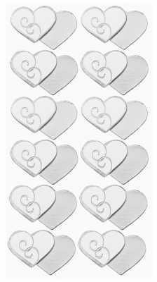 3D Sticker-Creapop-HobbyFun-HF3042-doppelte Herzen mit Ornament-silber/weiß