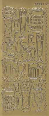 Zier-Sticker-Bogen-Biergläser-gold-3454g