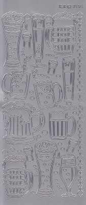 Zier-Sticker-Bogen-Biergläser-silber-3454s