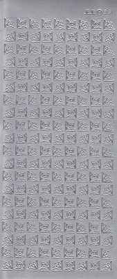 Zier-Sticker-Bogen-180 kleine Ecken -silber-3511s
