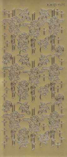 Zier-Sticker-Bogen-Christliche Motive-Kreuz mit Rose-gold-3514g