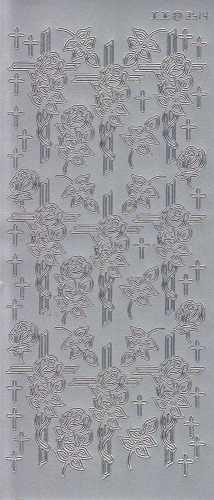 Zier-Sticker-Bogen-Christliche Motive-Kreuz mit Rose-silber-3514s